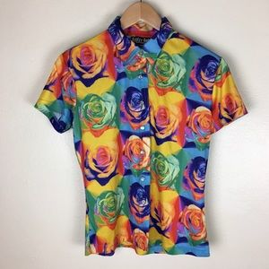Multi-colored/rainbow colored floral t-shirt